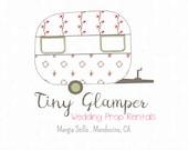 Premade Vintage Camper Logo Editable PSD Tiny Glamper PNG Clipart Instant Download