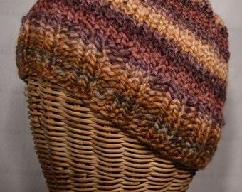 Sunset Colors Chunky Ribbed Brim Ski Beanie Hat