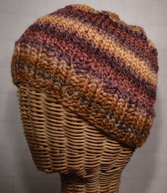 Sunset Colors Chunky Ribbed Brim Ski Beanie Hat