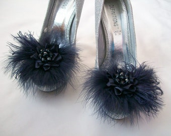Navy Blue Lace Satin Organza Feather and Pearl Glamorous Shoe Clips Bridal Wedding Prom Races -  Made to Order
