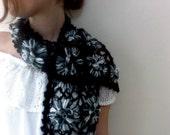 Hand Knit Black Scarf, Black crochet scarf, Crochet black scarf, Black and White crochet flower scarf