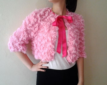 Loose Knit cropped sweater Pink knit Jacket fluffies Romantic Soft wedding accessories shrug