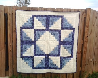 Quilt SALE / Winter Snowflake / Log Cabin Quilt / Christmas Star Quilt / Blue White Quilt / Ready to Ship