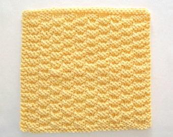 Knit Dishcloth, Cotton Dishcloth, Yellow Dishcloth, Yellow Kitchen Decor