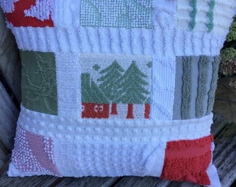 Christmas Winter Red Green Vintage Chenille Patchwork Pillow Handmade Doodaba Lake Patio