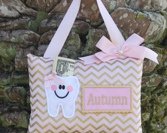 PINK & GOLD CHEVRON Tooth Fairy Pillow-----Ships next day