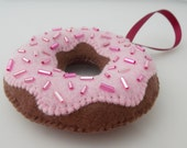 Strawberry Iced Chocolate Donut / Doughnut - Christmas Ornament