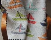 Modern quilt/Sailboat/ Bonnie and Camille Happy Go Lucky Fabric/Unisex/Boy Quilt