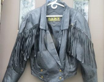 vintage Western Fringe Lady Biker soft BLACK  LEATHER Motorcycle cropped  Jacket   CONCHES  sz med