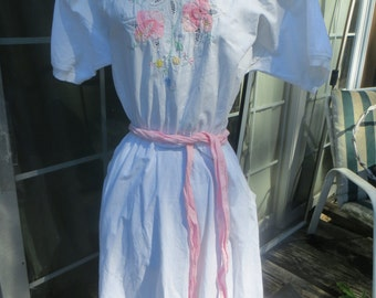 vintage white cotton embroidery tea length day dress  sz large BY DRAGON FLY