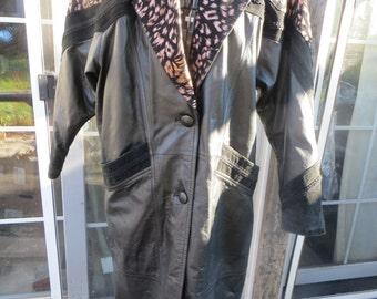 vtg genuine black leather womens long trench coat w animal print design  sz med