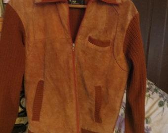 Vtg 70s Landmark SUEDE & Acrylic Sweater Hipster CARDIGAN Size large