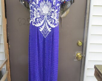 vtg 80s  Silk Beaded Sequined low  cut  purple and white sequins beads  sz 10 by Alyce Designs