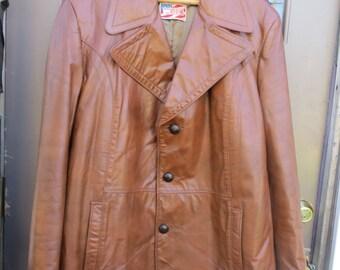 Vintage De Long Glove Cowhide Leather Car Club Work Men's Coat Jacket   Size 46