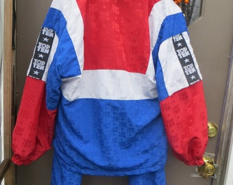 vintage 80s  PATRIOTIC  red white blue COLOR  block stars windbreaker track jogging   suit    by TOP tEN  sz small