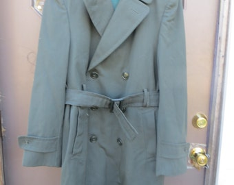 1970s  US Army  overcoat   ag-44 mEns   36  Trench  WOOL GABARDINE   Removable  Liner