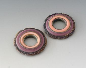 Rustic Ruffle Discs - (2) Handmade Lampwork Beads - Lavender, Pink