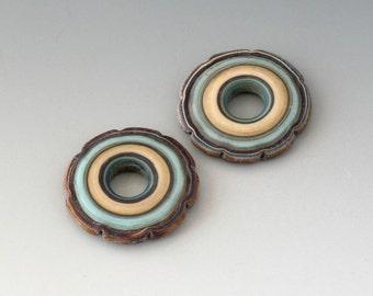 Rustic Ruffle Discs - (2) Handmade Lampwork Beads - Mint, Ivory