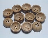 SALE Wood Buttons Bowl Shape Natural Wood Buttons Set of 11 Embellishing Craft Sewing Buttons