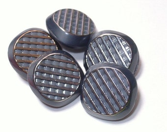 Silver Gray Vintage Glass Buttons Set 5 Sewing Embellishment Buttons 18mm
