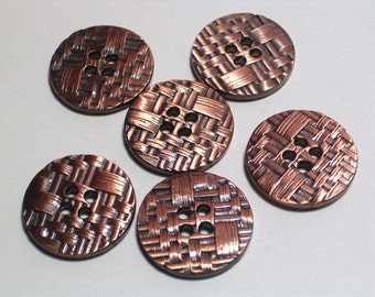 SALE Antiqued Copper Color Metal Buttons 18mm Set 6 Very Nice Buttons with holes