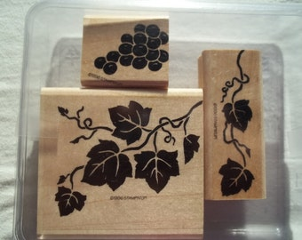Stampin UP  Wood Mounted Rubber Stamp    3 Piece Set in Original Clamshell    1996 Ivy