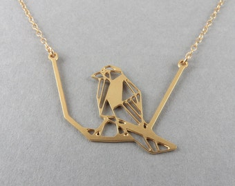 bird necklace, bird on branch, animal jewelry, bird jewelry