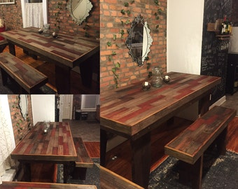 Farmhouse Table / Harvest Table / Gift For Her / Wood Bench / Reclaimed  Barn Wood