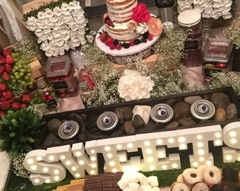 smores bar , candy bar , table centerpiece / 3,4,5,6ft / wedding decoration / wedding reception , Rustic wedding centerpieces / candy buffet
