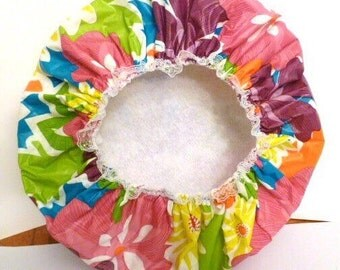 Waterproof Shower Cap  Mother's Day Sunny Daisies Durable Soft Vinyl Cap with Soft Fabric Liner