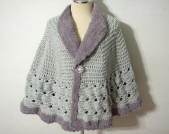 Crochet  poncho in Grey