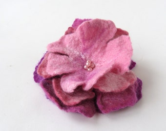 Pink Felted brooch, Pink  felt flower, Fancy flower, wool jewelry, felted flower Accessories woman  by Galafilc