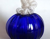 Hand Blown Glass Pumpkin Cobalt Blue Glass Halloween Decor Autumn Decor Pumpkin