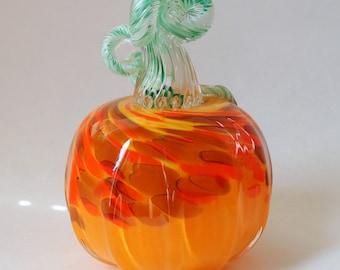 Hand Blown Glass Pumpkin Orange Yellow Brown Swirl Pumpkin Halloween Pumpkin Autumn Pumpkin Decor