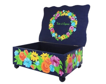 Personalized Hand Painted Wedding Card Box - Bright Sunflowers, Orange, Blue, Pink Flowers on Blue Scalloped Box - Quinceanera Keepsake Box