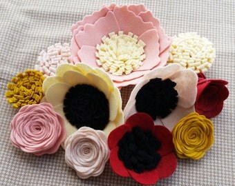 Wool felt flowers, flower embellishments, flower add on, DIY flowers, pillow embellishment, wool felt, diy wreath, set of 11
