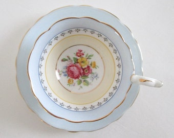 Royal Stafford Tea Cup & Saucer Periwinkle Blue Maize Yellow Rose Bouquet
