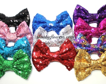 4 inch LARGE Sequin Bows, Baby Sequin Bows, 4 inch Sequin Bows, Wholesale Bows - Choose your color - No Clip - Bow Only