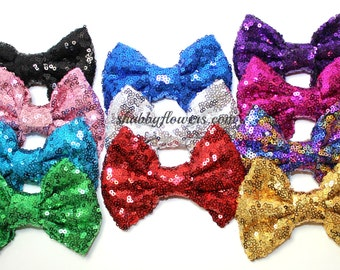 4 inch LARGE Sequin Bows, Baby Sequin Bows, 4 inch Sequin Bows, Wholesale Bows - Choose your color