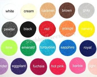 Adhesive Felt Circles, felt dots, 1.5 inch felt for baby headbands , DIY Headband Supplies, 12 felt dots per sheet - Select Your Color