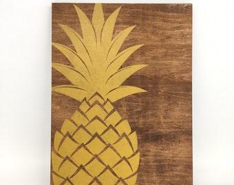 Pineapple Sign, Pineapple Wood Sign, Pineapple Decor, Tropical Signs, Hollywood Regency, Dorm Decor, Dorm Wall Art, Reclaimed Wood Signs