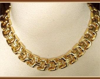 Vintage Thick Gold Tone Necklace, Super Shiny, Flexible, Lightweight, 1980's