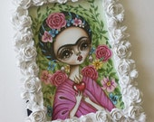 Original Framed Mini Painting--Frida's Garden