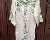 vintage.  70s Embroidered Hippie Dress / free size // Bohemian Handmade Rare Piece