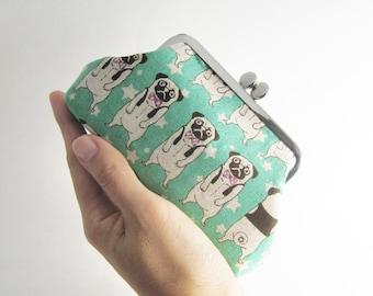 Frame Purse - Card Case - Frame Wallet - Kiss Lock Purse- Pug in Aqua