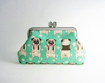 Frame Purse - Card Case - Frame Wallet - Kiss Lock Purse- Pug in Aqua