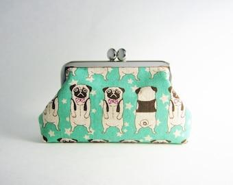 Frame Purse/ Card Case- Pug in Aqua