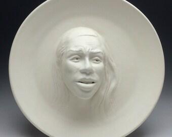 Face sculpture wall hanging platter portrait relief bowl figure art pottery plate bird bath head of a woman