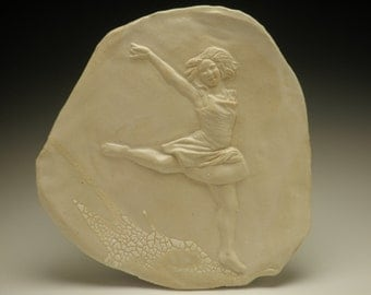 Dancer Bas Relief Sculpture Wall Art Tile Figure
