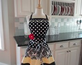 Yellow and Black Damask ~ Ellie Style Women's Apron ~ 4RetroSisters